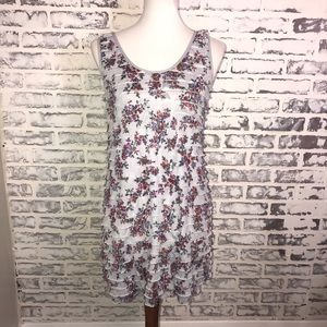 Free People Tank Top M  Floral Ruffles Tiered